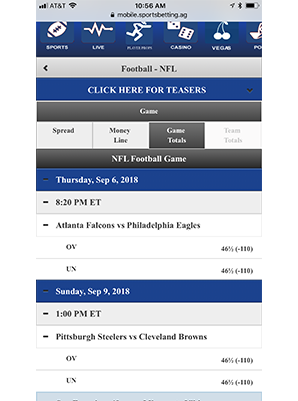 Sportsbetting.ag NFL Game Totals Mobile Скриншот